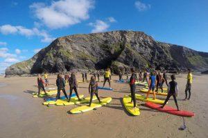 kids surf club beach lesson