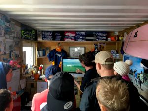 analysing drone video footage of a pop-up and trimming intermediate surf camp north cornwall mawgan porth