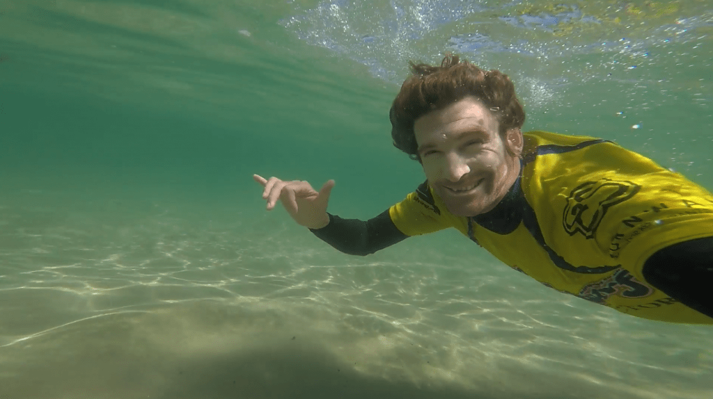 swimming in cold water. wild swimming in mawgan porth with gopro underwater camera