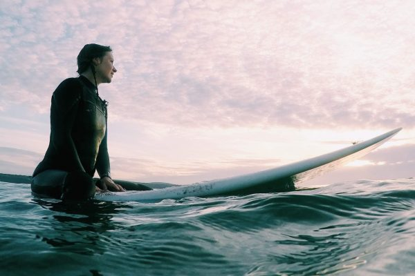 Kirsty Hill who learnt to surf with Kingsurf and now lives in Cornwall